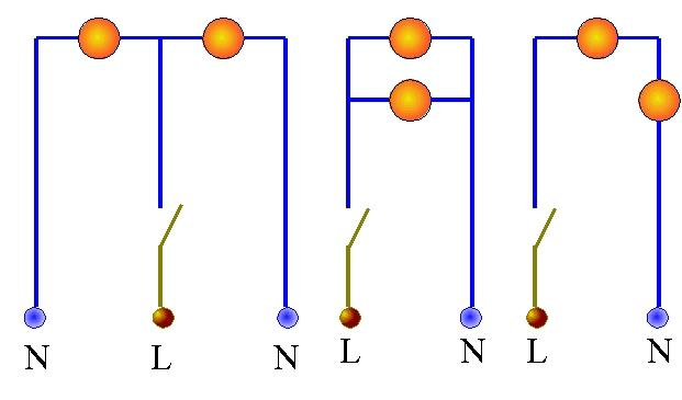 На этом рисунке изображены последовательное и параллельное подключения.